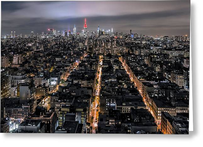 Highrise Digital Greeting Cards - City veins Greeting Card by Eduard Moldoveanu