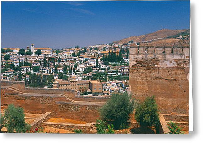 Alhambra Greeting Cards - City View From The Fort, Alhambra Fort Greeting Card by Panoramic Images