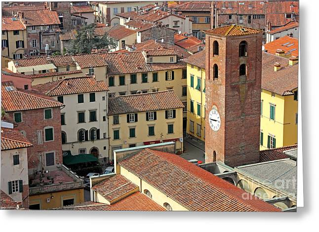 Dominate Greeting Cards - City View of Lucca with the Clock Tower Greeting Card by Kiril Stanchev