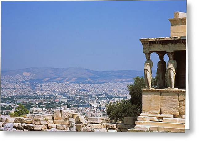 Greek Sculpture Greeting Cards - City Viewed From A Temple, Erechtheion Greeting Card by Panoramic Images