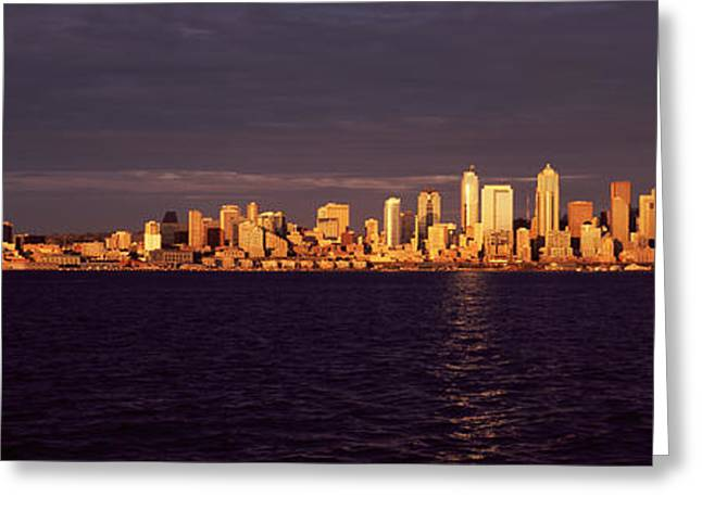 Locations Greeting Cards - City Viewed From Alki Beach, Seattle Greeting Card by Panoramic Images