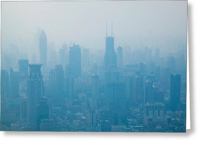Pudong Greeting Cards - City Viewed From Observation Deck Greeting Card by Panoramic Images
