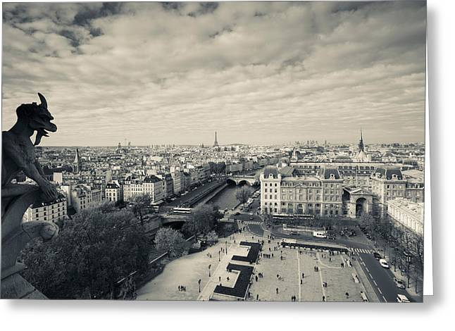 Town Square Greeting Cards - City Viewed From The Notre Dame Greeting Card by Panoramic Images