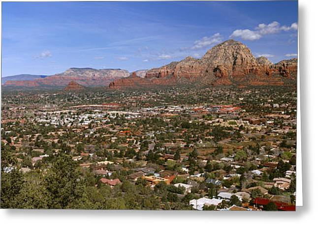 Cathedral Rock Greeting Cards - City With Rock Formations Greeting Card by Panoramic Images