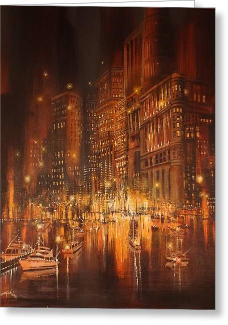 City Lights Greeting Cards - City Yacht Club Greeting Card by Tom Shropshire