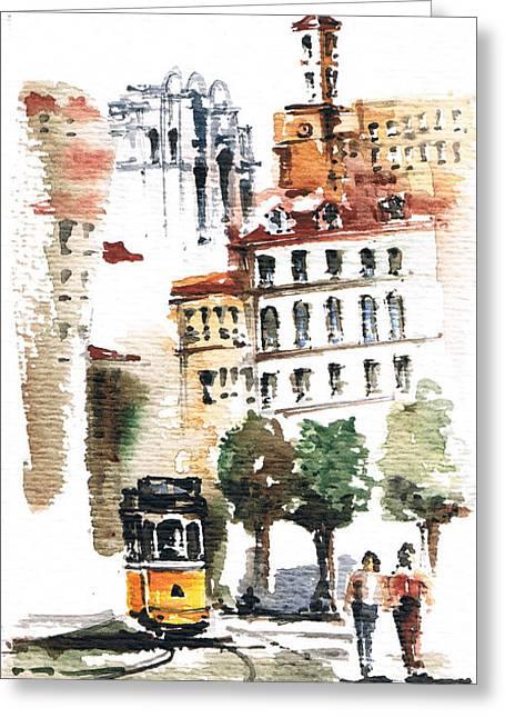 Prague Paintings Greeting Cards - City2 Greeting Card by Turdean Mircea