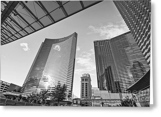 Wide Angled Glass Mirror Greeting Cards - CityCenter - View of the Vdara Hotel and Spa located in CityCenter in Las Vegas  Greeting Card by Jamie Pham
