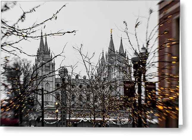 Slc Greeting Cards - CityCreek SLC Temple Golden Greeting Card by La Rae  Roberts