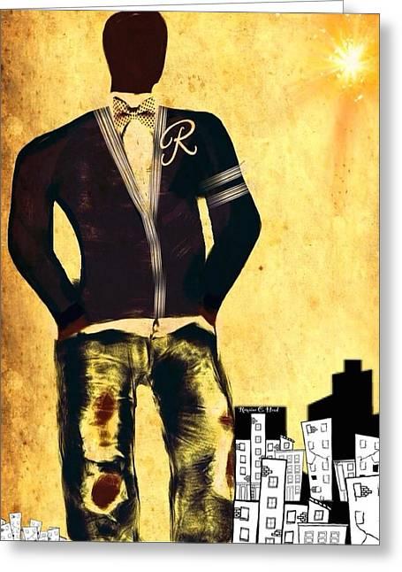 Romaine Digital Art Greeting Cards - CityDude Greeting Card by Romaine Head