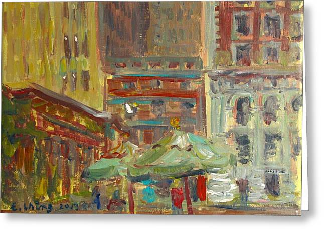 Bryant Paintings Greeting Cards - Cityscape 2 Greeting Card by Edward Ching