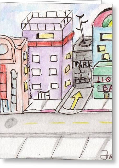 Downtown Drawings Greeting Cards - Cityscape 3 Greeting Card by Diane Maley