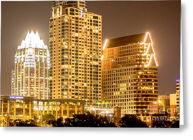 Famous Bridge Greeting Cards - Cityscape a10g Austin TX Greeting Card by  Otri  park