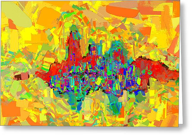Bold Style Greeting Cards - CityScape Abstract 1 Digital Painting Greeting Card by Rich Franco