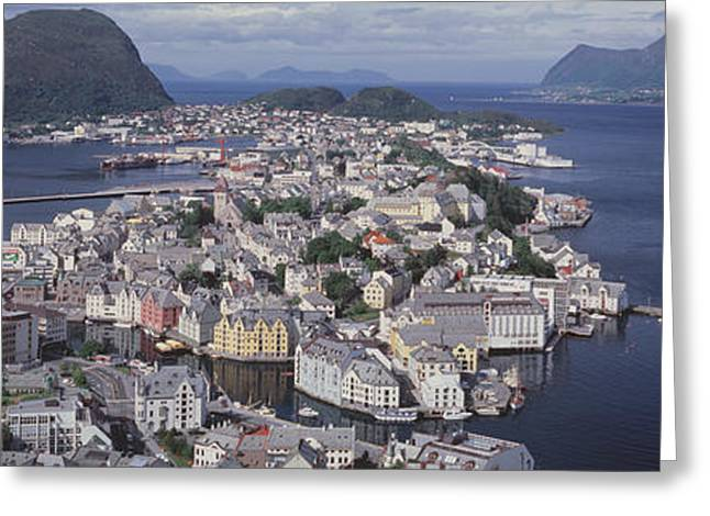 Boats In Water Greeting Cards - Cityscape Alesund Norway Greeting Card by Panoramic Images