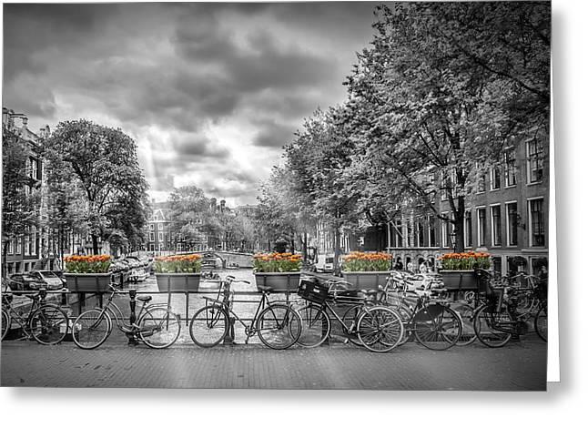 Cityscape Amsterdam Greeting Card by Melanie Viola