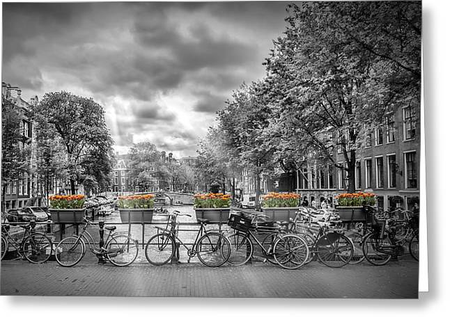 Amsterdam Greeting Cards - Cityscape Amsterdam Greeting Card by Melanie Viola
