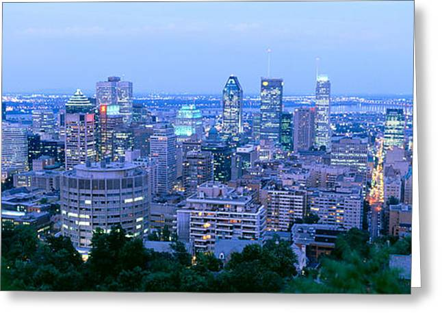 Cityscape At Dusk, Montreal, Quebec Greeting Card by Panoramic Images