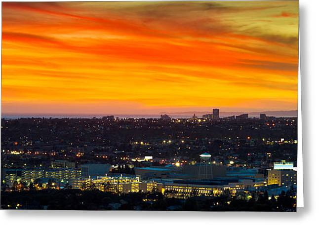 California Ocean Photography Greeting Cards - Cityscape At Dusk, Sony Studios, Culver Greeting Card by Panoramic Images