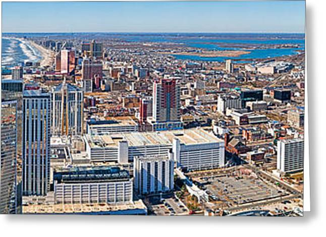 Ocean Panorama Greeting Cards - Cityscape, Atlantic City, New Jersey Greeting Card by Panoramic Images