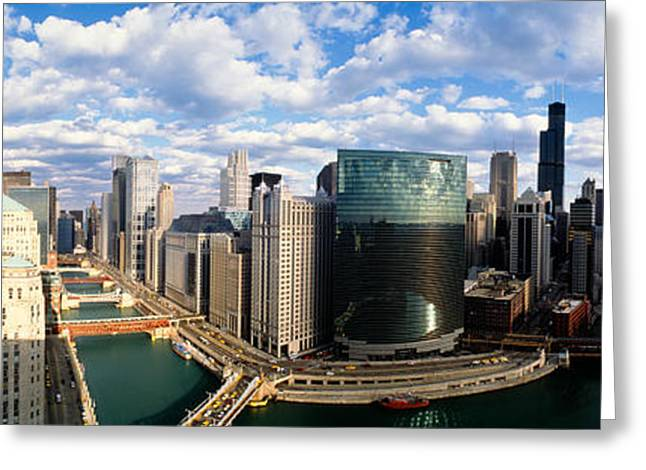 Wacker Drive Greeting Cards - Cityscape Chicago Il Usa Greeting Card by Panoramic Images