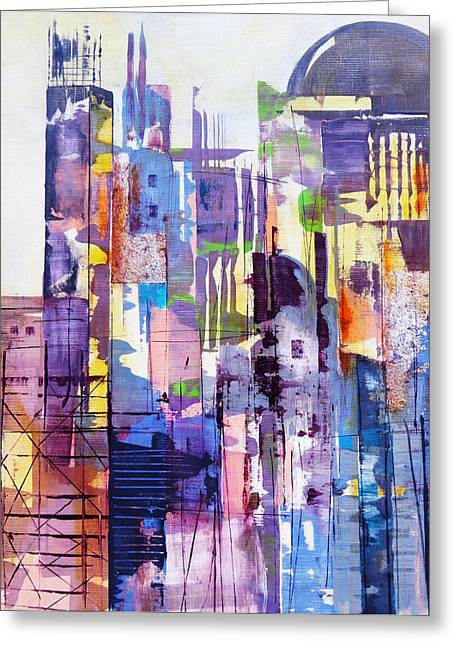 Bold Style Greeting Cards - Cityscape Greeting Card by Katie Black