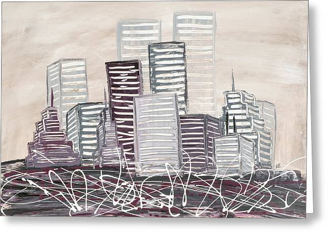 Red Buildings Mixed Media Greeting Cards - Cityscape Greeting Card by Melissa Smith