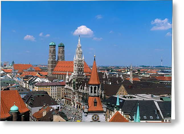Frauenkirche Greeting Cards - Cityscape, Munich, Germany Greeting Card by Panoramic Images