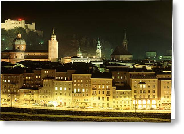 Salzburg Greeting Cards - Cityscape Night Salzburg, Austria Greeting Card by Panoramic Images