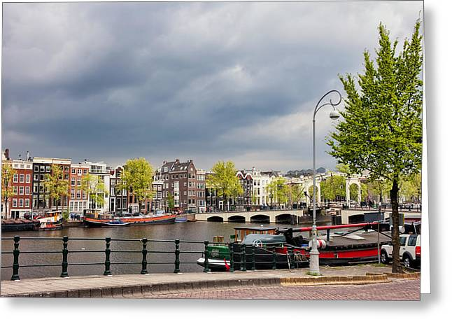 Skinny Greeting Cards - Cityscape of Amsterdam in the Netherlands Greeting Card by Artur Bogacki
