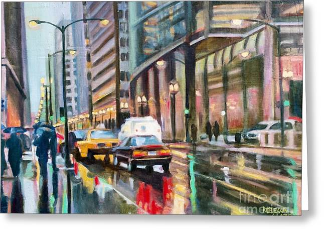 Abstract Rain Greeting Cards - Cityscape One Greeting Card by Rebecca Glaze