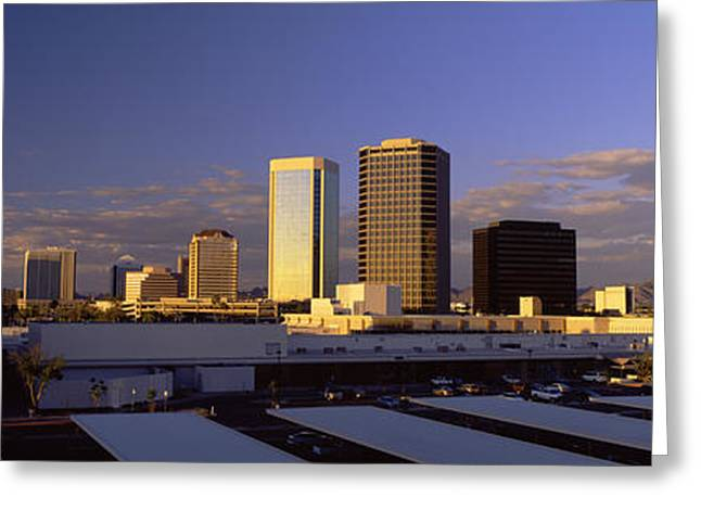 Corporate Business Greeting Cards - Cityscape Phoenix Az Greeting Card by Panoramic Images