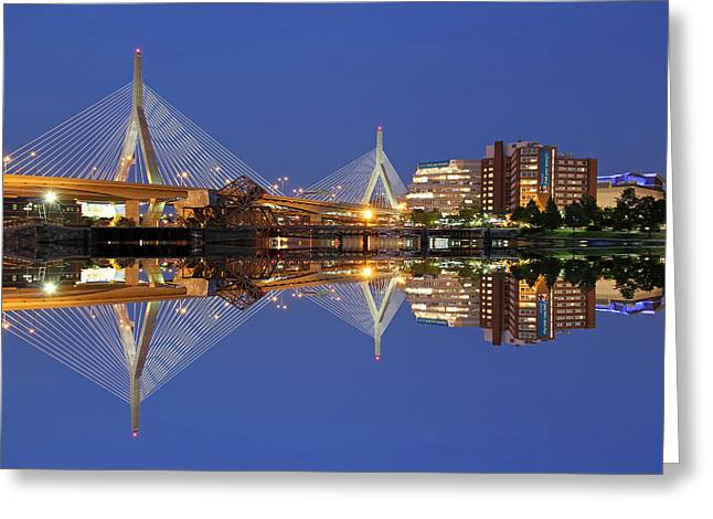 Td Bank Garden Greeting Cards - Cityscape Reflection of the Boston Zakim Bridge Greeting Card by Juergen Roth