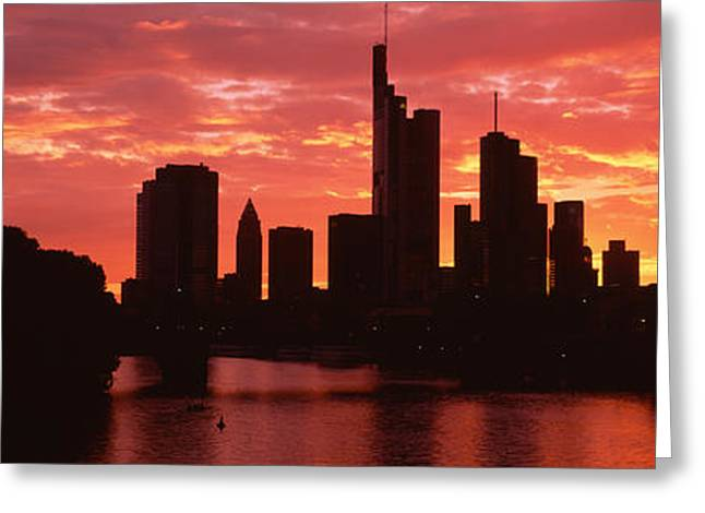 Grey Clouds Greeting Cards - Cityscape, Rhine River, Frankfurt Greeting Card by Panoramic Images
