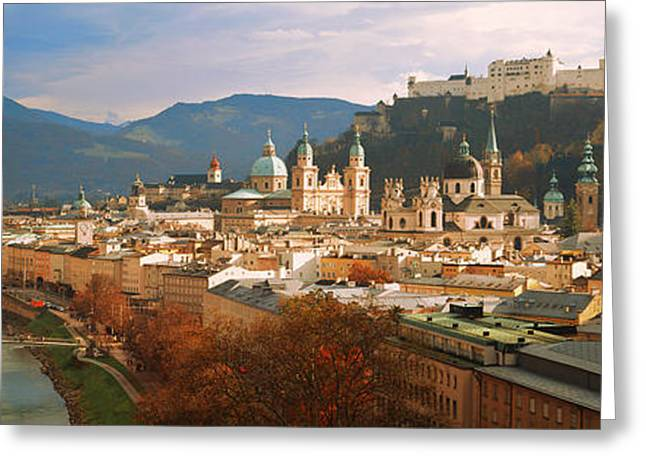 Colorful Photography Greeting Cards - Cityscape Salzburg Austria Greeting Card by Panoramic Images