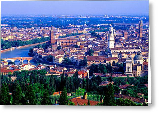Old City Tower Greeting Cards - Cityscape, Verona, Italy Greeting Card by Panoramic Images