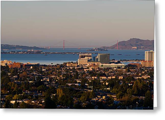Alcatraz Greeting Cards - Cityscape With Golden Gate Bridge Greeting Card by Panoramic Images