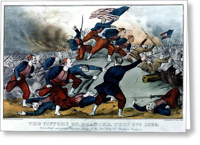 Bayonet Paintings Greeting Cards - Civil War Battle of Roanoke Greeting Card by Historic Image