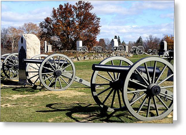 Civil War Site Photographs Greeting Cards - Civil War Cannons at Gettysburg National Battlefield Greeting Card by Brendan Reals