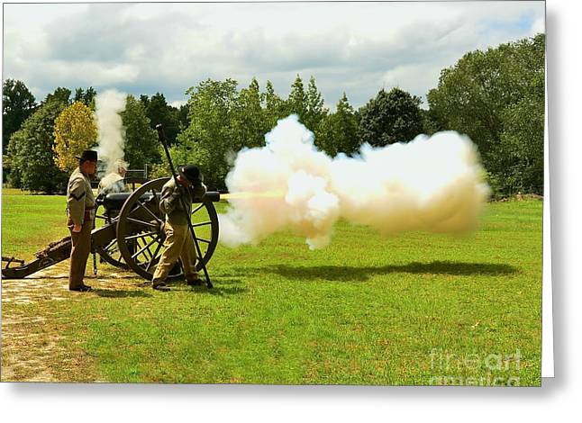 Civil War Canon Firing  Greeting Card by Bob Sample