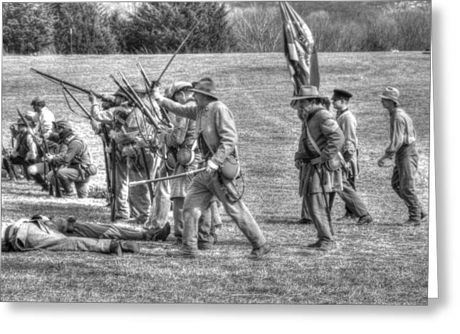 Skirmish Line Greeting Cards - civil war confederate Troops v4 Greeting Card by John Straton