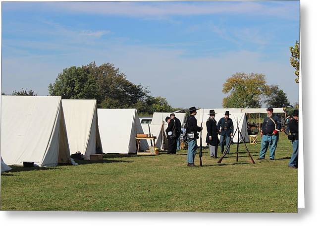 Re-enact Greeting Cards - Civil War Encampment Greeting Card by Earl  Eells a