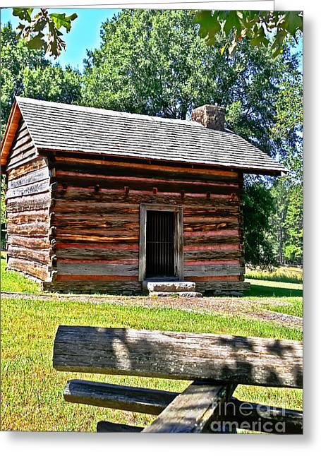 Split Rail Fence Greeting Cards - Civil War Era Cabin Greeting Card by Elvis Vaughn
