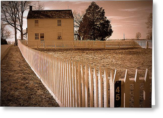 Lack And White Greeting Cards - Civil War Field Hospital Greeting Card by M Hess