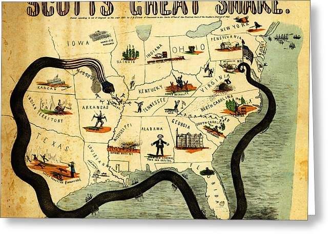Vector Image Paintings Greeting Cards - Civil War Map Scotts Great Snake 1861 Greeting Card by MotionAge Designs