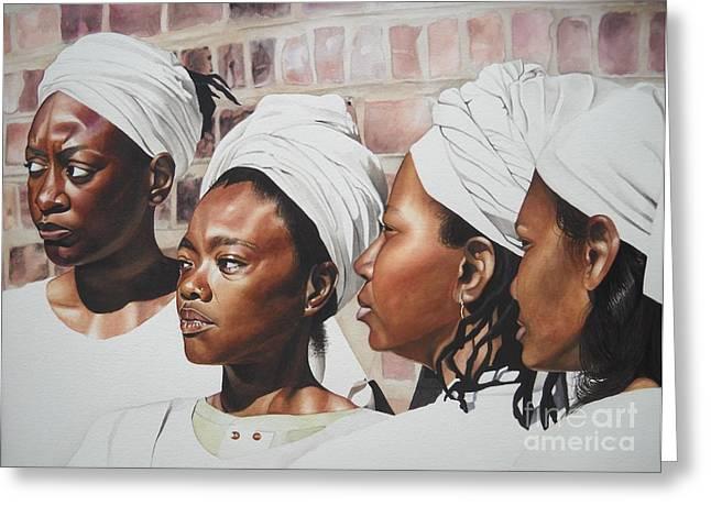 African American History Paintings Greeting Cards - Civil War Nurse Greeting Card by Sonya Walker
