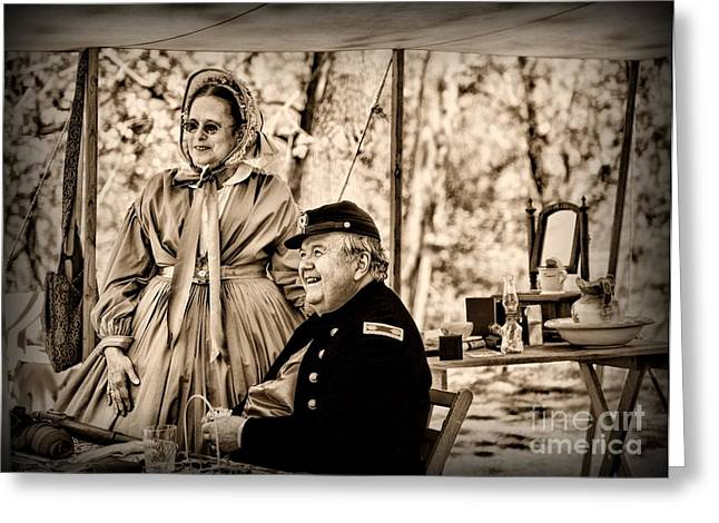 Civil War Officer And Wife Greeting Card by Paul Ward