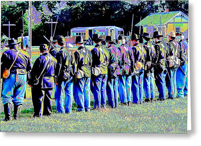 Historical Re-enactments Digital Art Greeting Cards - Civil War Platoon by Earls Photography Greeting Card by Earl  Eells a