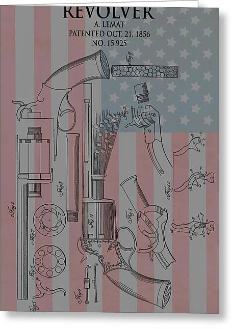 Confederate Flag Mixed Media Greeting Cards - Civil War Revolver American Flag Greeting Card by Dan Sproul