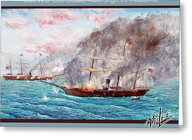 Confederacy Digital Art Greeting Cards - Civil War Sea Battle Kearsage vs Alabama Greeting Card by Philip Lee