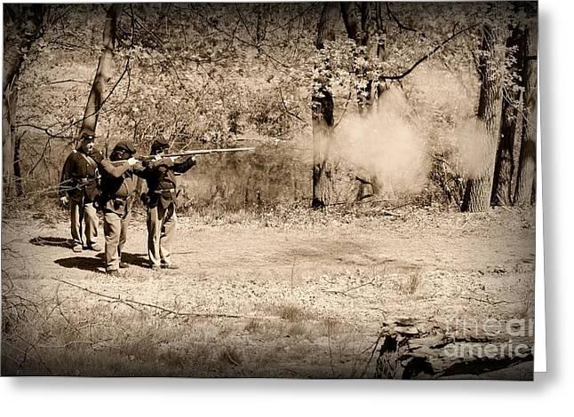 Civil War Soldiers Firing Muskets Greeting Card by Paul Ward